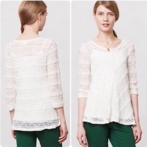 Anthropologie Lilka Colette Sheer Lace Tunic Top